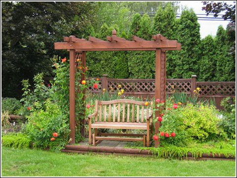 Landscape design ideas garden arbors pergolas fences for Garden archway designs