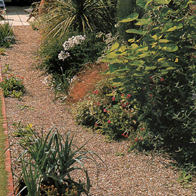 gravel is a versatile material for paths in the ornamental garden