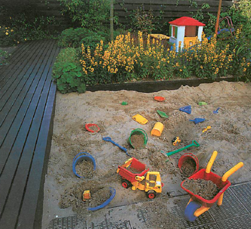 play areas need to be visible from the house yet discreet enough to not adversely affect the remainder of the garden